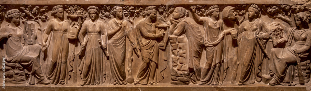 Fototapeta Ancient Greece bas-relief showing scene with women