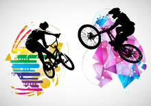 Active Men. BMX Riders In Abstract Sport Landscape Background, Vector.