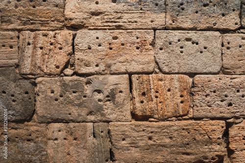 Photo Ashlar stones on a wall