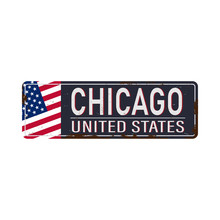 Chicago Vintage Rusty Metal Sign On A White Background, Vector Illustration