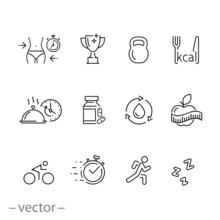 Gym Icon Set, Sport Fit Exerci...