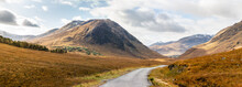 Panoramic View Of Road Through Glen Etive Near Glencoe Highlands Scotland