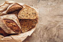 Brown Fresh Bread With Seeds A...