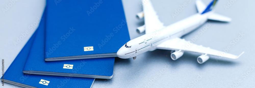 Fototapeta passport, airplane and topography map of Europe