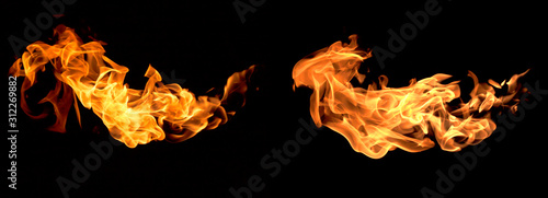Obraz Red flame isolated on a black background - fototapety do salonu