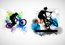 Active People. BMX Rider In Abstract Sport Landscape Background, Vector.