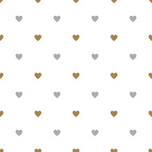 Seamless Geometrical Pattern With Small Heart Symbols. Valentine's Day Decor.