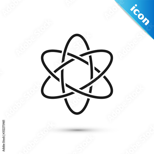 Cuadros en Lienzo  Black Atom icon isolated on white background