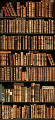 old books on wooden shelf Fototapet