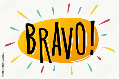 Fotomural Bravo lettering vector text banner