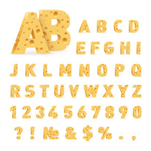 Font From Cheese. Letters, Num...