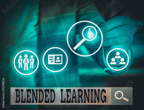 Photo  Writing note showing Blended Learning