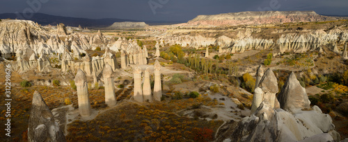 Panorama of phallic Fairy Chimneys in Love Valley Goreme National Park Turkey wi Fototapet