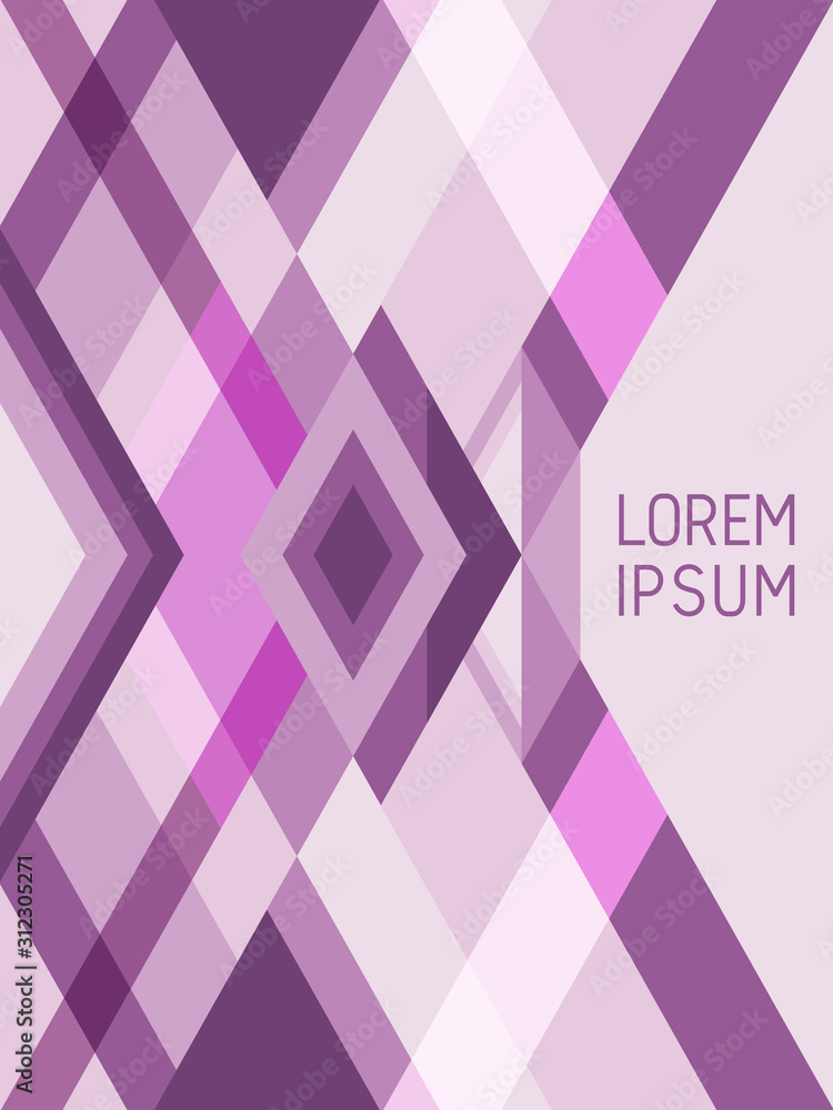 Cover page layout vector template geometric design with triangles and stripes pattern in violet, purple, pink.