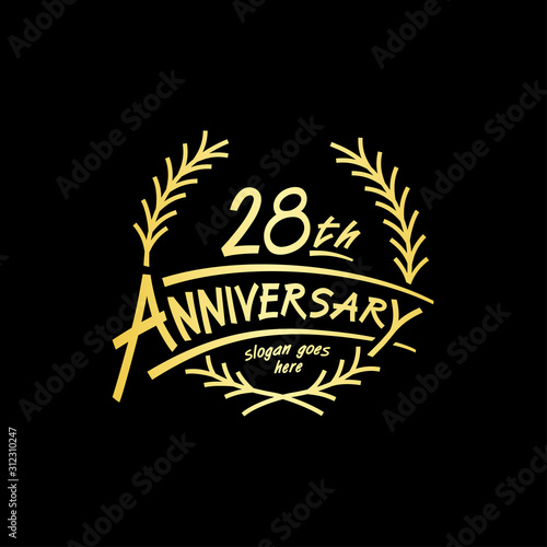 Tela  28 years design template. Vector and illustration. 28 years logo.
