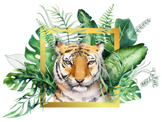 Panel Szklany Zwierzęta Watercolor tiger illustration and summer paradise tropical leaves jungle print with frame. Palm plant and flower isolated o white.