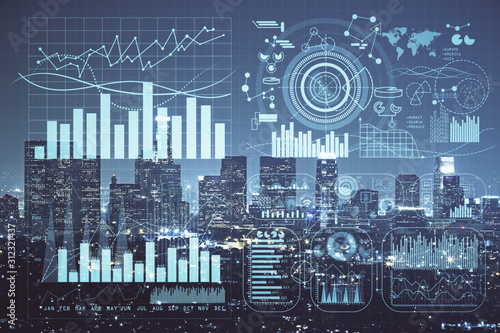 Naklejki miasto  forex-chart-on-cityscape-with-tall-buildings-background-multi-exposure-financial-research