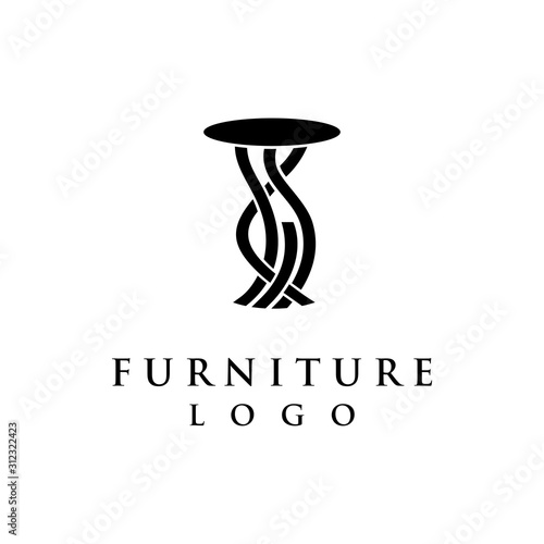 Vector of furniture logo with accent table design as icon isolated white bakgrou Wallpaper Mural