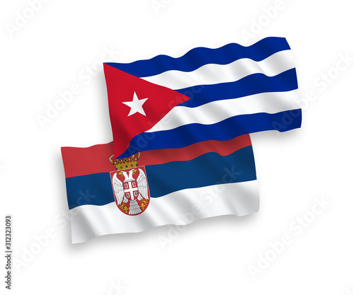 Photo Flags of Cuba and Serbia on a white background