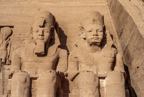 Fototapeta Abu Simbel - Two Statues of Ramesses II on the Great Temple