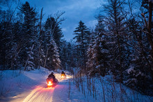 Snowmobile In The Evening Goes Through The Winter Forest. Headlights. Night Road Through The Winter Forest. Snowmobile At Night