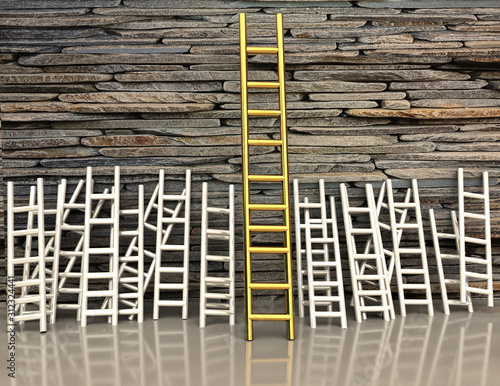 Photo ladder golden on a wall  competitive advantage - 3d rendering