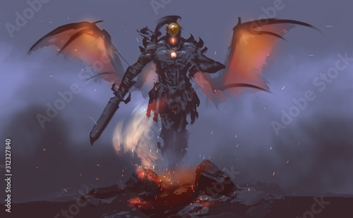 Photographie Digital illustration painting design style a god of fire summoning from lava against mist