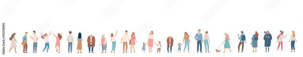 Obraz People crowd. Background people vector horizontal banner. Men and women, parents, kids walking outdoor. fototapeta, plakat