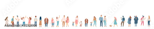 Fototapeta People crowd. Background people vector horizontal banner. Men and women, parents, kids walking outdoor. obraz