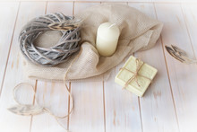Natural Organic Soap With Bird Feathers On Shabby Table