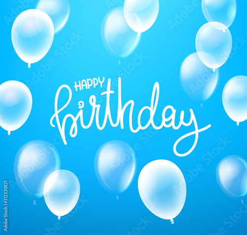 Happy birthday vector card with flying air balloons Canvas Print