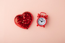 Glitter Heart And Red Clock On...