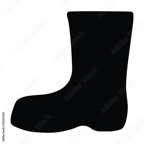 Fototapeta A black and white vector silhouette of a wellington boot obraz