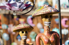 Day Of The Dead Figurines In A Marketplace In Old Town, San Diego