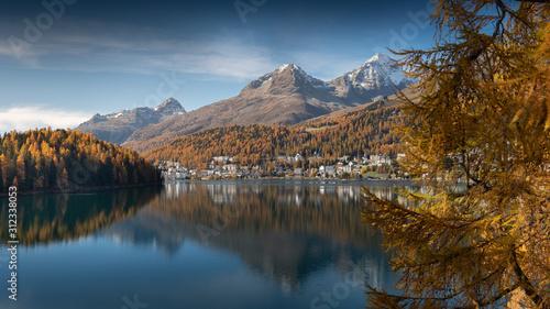 Goldener Herbst am St. Moritzersee Canvas Print