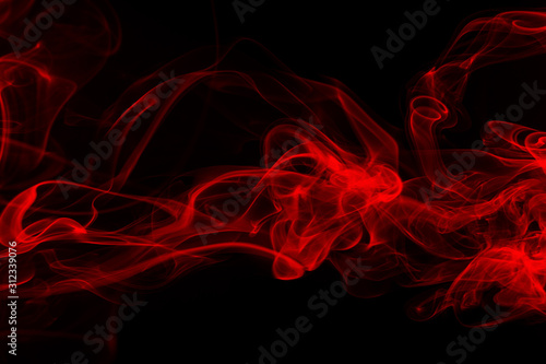 Red smoke abstract on dark background, Movement of fire in black Wallpaper Mural