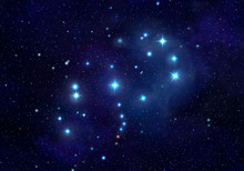 Pleiades Or Seven Sisters Constellation In The Night Sky Illustration