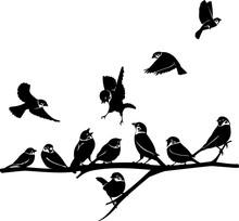 Sparrow Silhouette Illustratio...