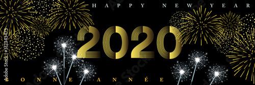 Photo 2020-Bannière d'ambiance de fêtes nocturnes avec des feux d'artifices et des cierges magiques - Texte Français, anglais, traduction : bonne année