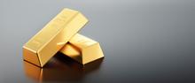 4 Goldbarren Auf Dunkelgrauem ...