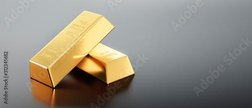 Photo 4 Goldbarren auf dunkelgrauem Untergrund