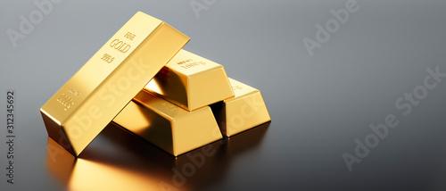 Papel de parede 4 Goldbarren auf dunkelgrauem Untergrund