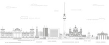 Berlin Cityscape Line Art Style Vector Illustration. Detailed Skyline Poster