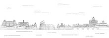 Rome Cityscape Line Art Style ...