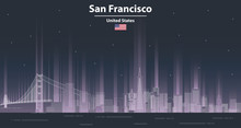 San Francisco Cityscape At Night Line Art Style Vector Illustration. Detailed Skyline Poster