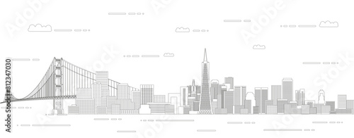 Photo San Francisco cityscape line art style vector illustration