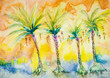 canvas print picture - Four palm trees with dates. The dabbing technique near the edges gives a soft focus effect due to the altered surface roughness of the paper.