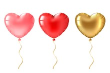 Heart Balloon. Cute Gold, Pink...