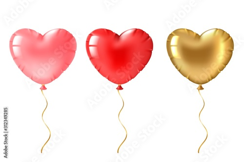 Fototapeta Heart balloon. Cute gold, pink and red heart shaped balloons decor, valentines day design element for romantic greeting card 3d vector set obraz