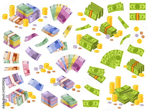 Dollar and euro banknotes. Isometric cash money, various currencies dollars and euros bundles and coins 3d financial awards vector set